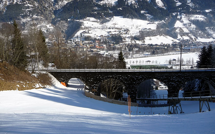 The railway line crossing a ski run near Bad Hofgastein
