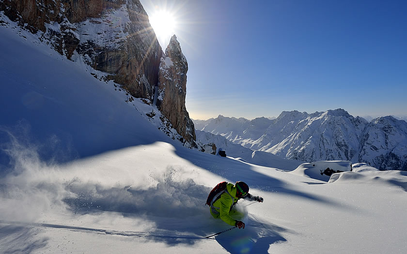 Powder skiing in the Silvretta Arena