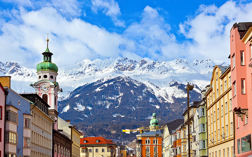 The Innsbruck Old Town and the Nordkette