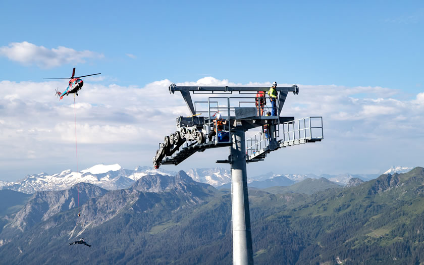 Work in the summer on the new Panorama Link lift in the Snow Space Salzburg