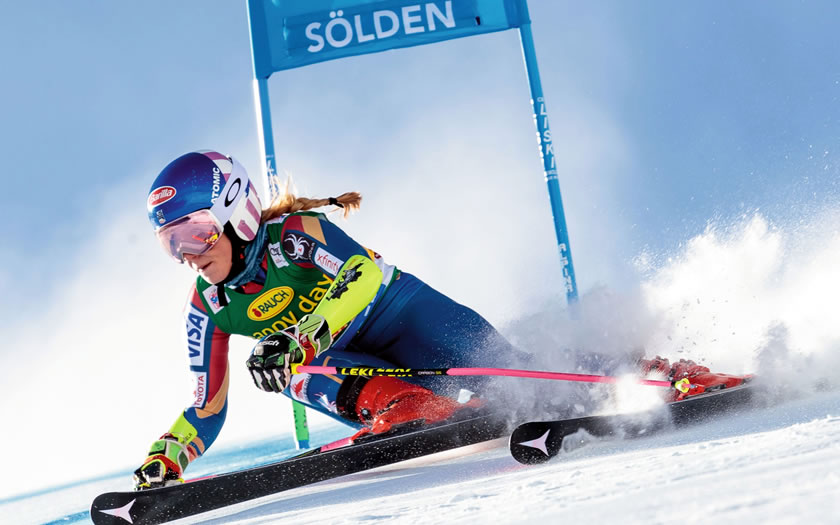 Ski racer at the Sölden World Cup event in October