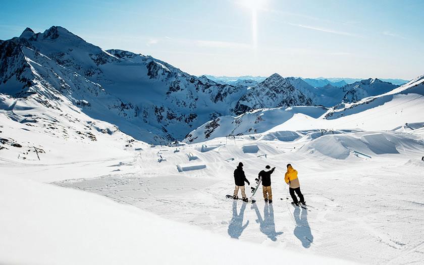 The Stubai Zoo snow park on the Stubai glacier in Austria