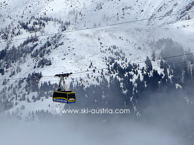 The cable car to the Kitzsteinhorn glacier ski area