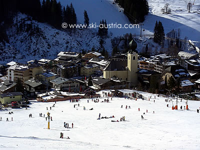 Saalbach from the ski slopes